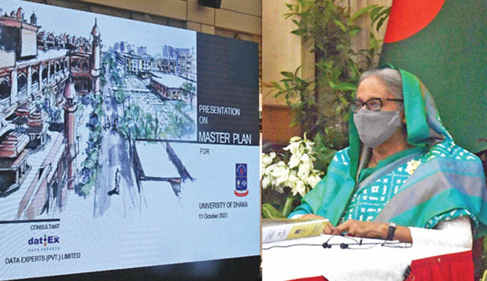 Prime Minister Sheikh Hasina virtually witnesses the master plan on Dhaka University at her official Ganabhaban residence in the capital on Monday. —PID PHOTO
