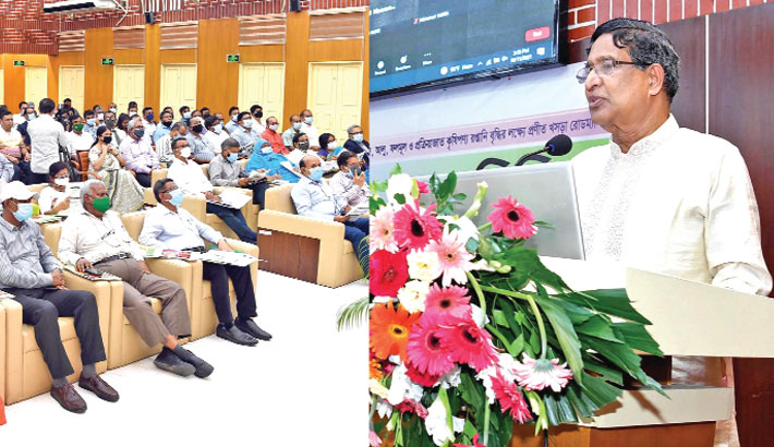 Agriculture Minister Dr Abdur Razzaque speaks at a research review workshop at Bangladesh Agricultural Research Institute (BARI) on Sunday.