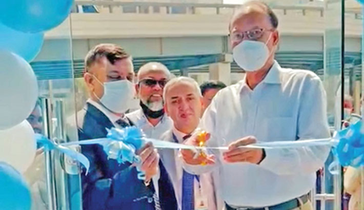 Janata Bank Chairman Dr SM Mahfuzur Rahman inaugurates the newly-shifted Sharjah branch of the bank in UAE recently. Sharja branch Manager Md Shawkat Akbar Bhuiyan was also present on the occasion.