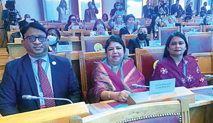 Speaker Dr Shirin Sharmin Chaudhury along with Whip Iqbalur Rahim attends the Third Eurasian Women's Forum at St Petersburg in Russia on Thursday. — SUN photo