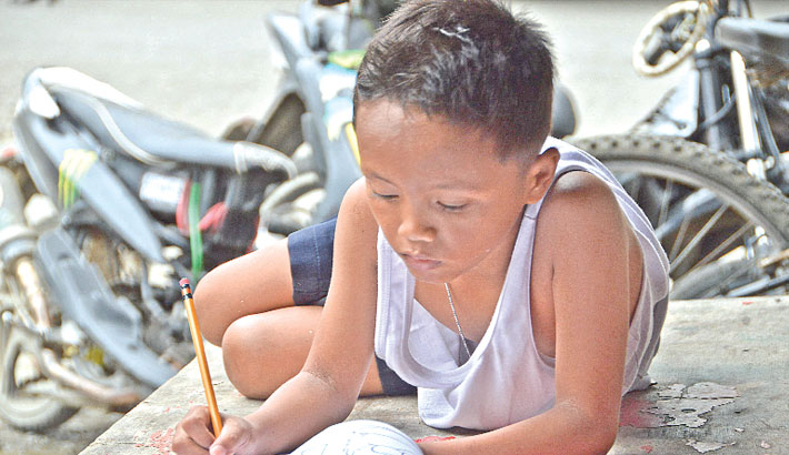 Boy Street Boy Boy Studying on Street