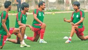 National football team toil in training