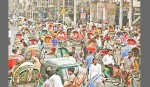 <p>Rickshaws block Dhaka city</p>