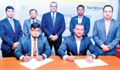 M. Nazeem A. Choudhury, seen signing a customer benefit agreement