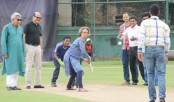 Bernicat plays cricket in Mirpur